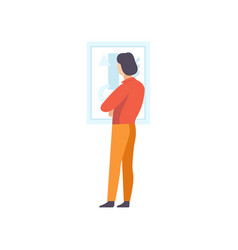 Brunette man looking at the painting hanging on vector