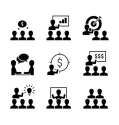 business training black icons on white background vector image
