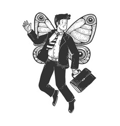businessman with butterfly wings sketch vector image