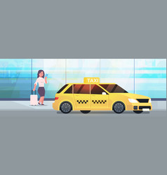 businesswoman using mobile app ordering taxi on vector image