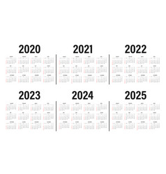 Calendar from 2020 to 2025 years template vector