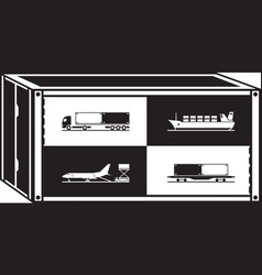 cargo container with different transportations vector image