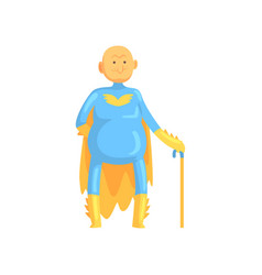 Cartoon bald and toothless old man character in vector