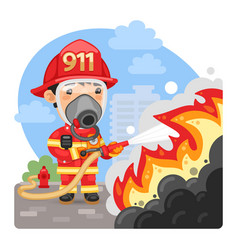 cartoon firefighter extinguishes a fire vector image