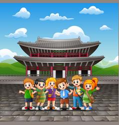 Cartoon of happy kids study tour in changdeokgung vector