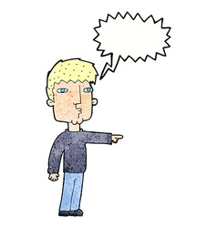 cartoon pointing man with thought bubble vector image