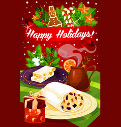 Christmas and new year dinner festive poster vector