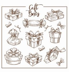 christmas collection symbolic traditional gift vector image
