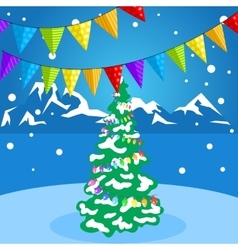 Christmas decorations on a background of winter vector image