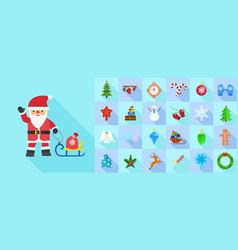 christmas icon set flat style vector image