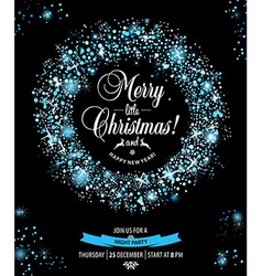 Christmas invitation card witch wreaths vector