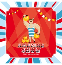 Circus card with strongman vector image