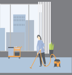 Cleaning in office janitor using vacuum vector