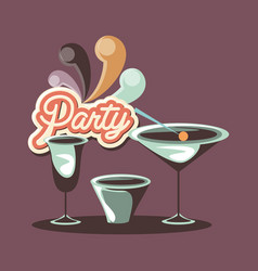 cocktail drink glass cup celebration retro party vector image