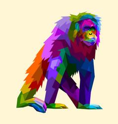 colorful orangutan in geometry pop art style vector image