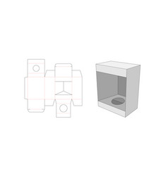 Cosmetic packaging box with window die cut vector