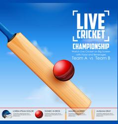 Cricket bat on sports background vector