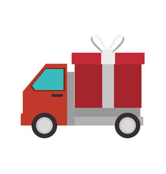Delivery truck with gift isolated icon vector