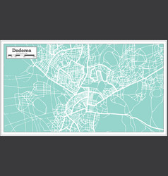 Dodoma tanzania city map in retro style outline vector