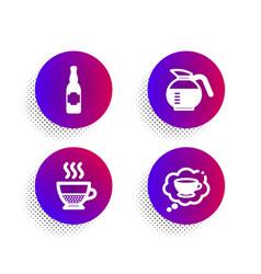 Doppio coffeepot and beer bottle icons set vector