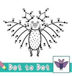 Dot to dot numbers game with a cute bat connect vector