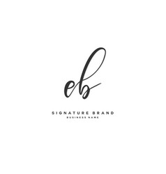 E b eb initial letter handwriting and signature vector