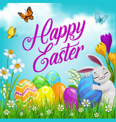 easter bunny with eggs flowers religion holiday vector image