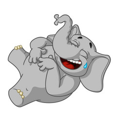 Elephant laughs holding her stomach vector