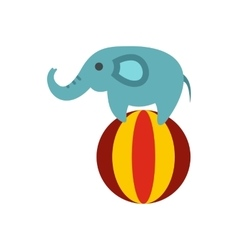 Elephant on ball icon flat style vector image