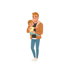 father holding his child on hands and embracing vector image