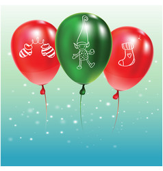festive background with green and red balloons vector image