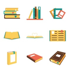 Flat isometric book icons symbols logos isolated vector image