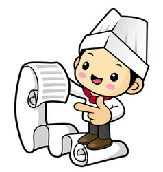 funny cook character watching an order isolated vector image