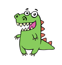 funny smiling dinosaur vector image