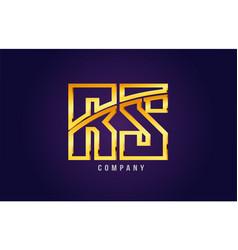 Gold golden alphabet letter rs r s logo vector