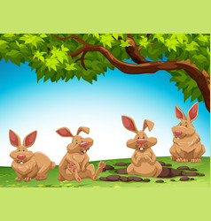 group of rabbit digging ground vector image