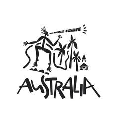 Hand drawn stylized map of australia travel vector