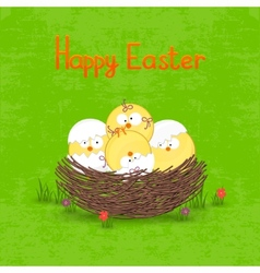 Happy Easter card template basket with eggs vector