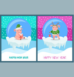 happy new year glass baubles with piglets set vector image