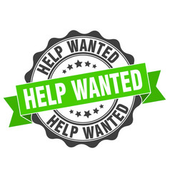 Help wanted stamp sign seal vector