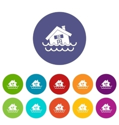House sinking in a water set icons vector image