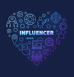 Influencer heart concept colored thin line vector