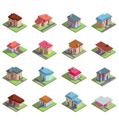 isometric 3d modern residential suburban or city vector image