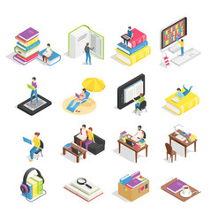isometric book set reading books textbooks vector image