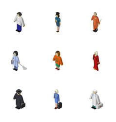 Isometric people set of housemaid medic vector