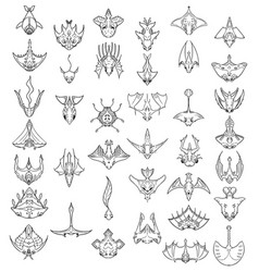 Large set of hand drawn top down cartoon vector