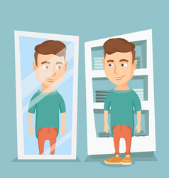 Man trying on t-shirt in a dressing room vector