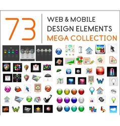 Mega collection of web mobile design elements vector