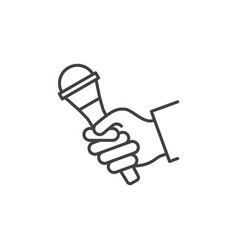 Microphone in hand linear icon hand with vector