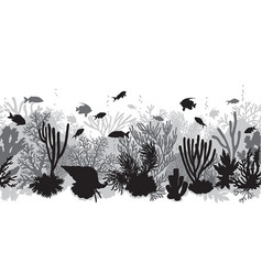 Monochrome coral reef line pattern vector